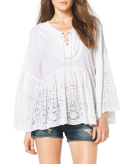 MICHAEL Michael Kors  Lace-Up-Front Eyelet Top