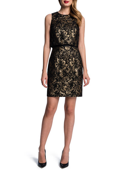 Sleeveless Metallic Floral Popover Sheath Dress