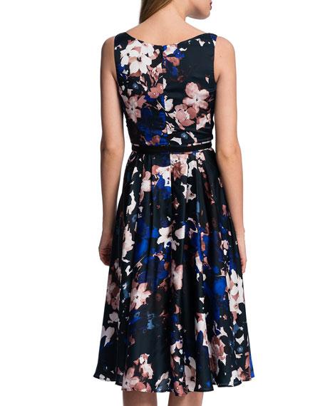 Sleeveless Garden-Print Midi Dress