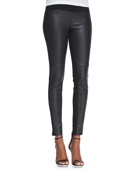 Ilyes Leather-Front Ponte Leggings