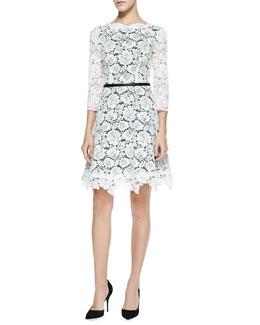 Nha Khanh Alex Lace A-Line Dress, Ivory/Black