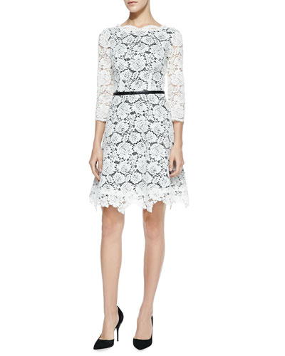 Nha Khanh Alex Lace A-Line Dress, Ivory/Black