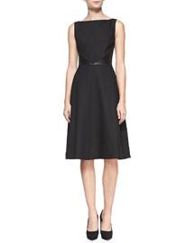 Nha Khanh Dina Faux-Leather-Inset Sleeveless Dress