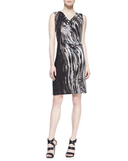 Nic + Zoe Oil Painting Jersey Dress, Petite