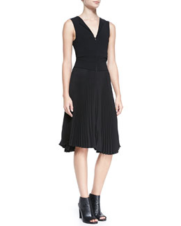 A.L.C. Etta Sleeveless Dress with A-Line Pleated Skirt