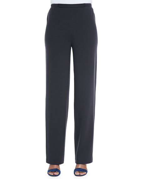 Caroline Rose Flat Wool-Knit Pants, Petite