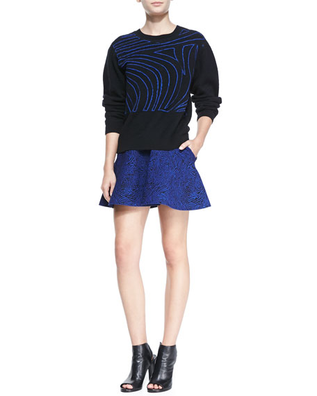 Fingerprint Tubular Jacquard Flared Skirt