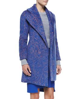 Opening Ceremony Fingerprint Amorphic Shawl-Collar Coat