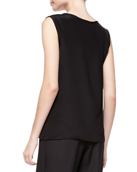 Long Silk Crepe Tank