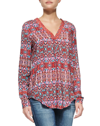 Tolani Marissa Silk Printed Long Sleeve Tunic, Red