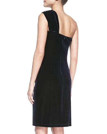 Ruched One-Shoulder Cocktail Dress