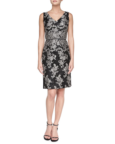 Floral V-Neck Jacquard Cocktail Dress
