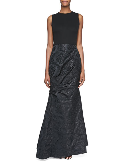Sleeveless Damask Gown, Black