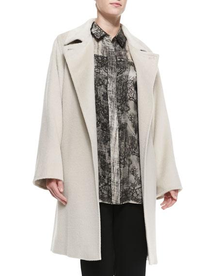 Tallero Wool-Alpaca Long-Sleeve Coat, Women's