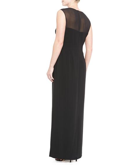 Sheer-Detail Long Gown, Women's