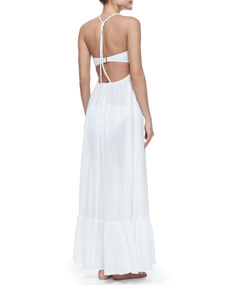 Mermaid's Voile Square-Neck Maxi Dress