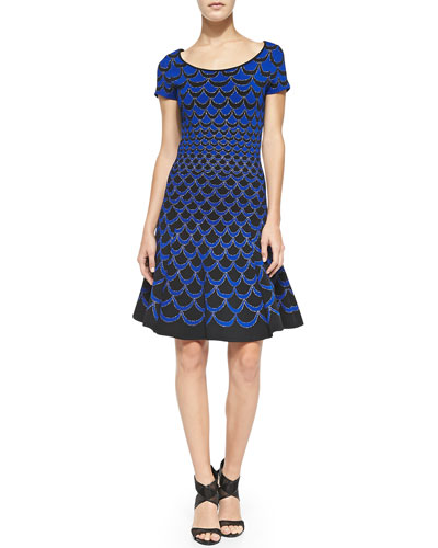 Diane von Furstenberg Scallop-Print Fit & Flare Dress