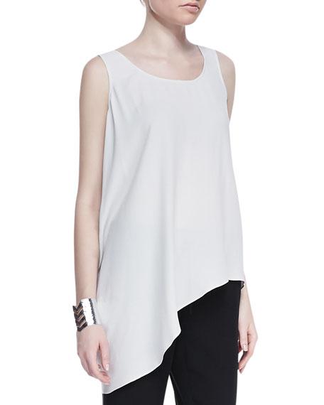 Eileen Fisher Silk Asymmetric Draped Shell, Plus Size