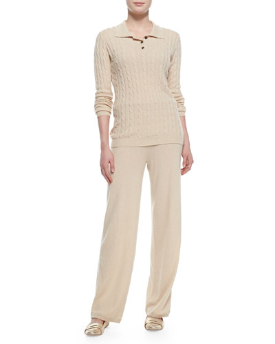Neiman Marcus Two-Piece Cashmere Pullover & Pants Set