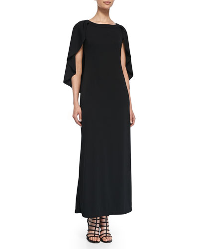 Melissa Masse Cape Long Jersey Dress, Women's