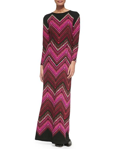 Long-Sleeve Chevron-Print Maxi Dress