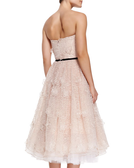 Strapless Blossom Tea-Length Cocktail Dress