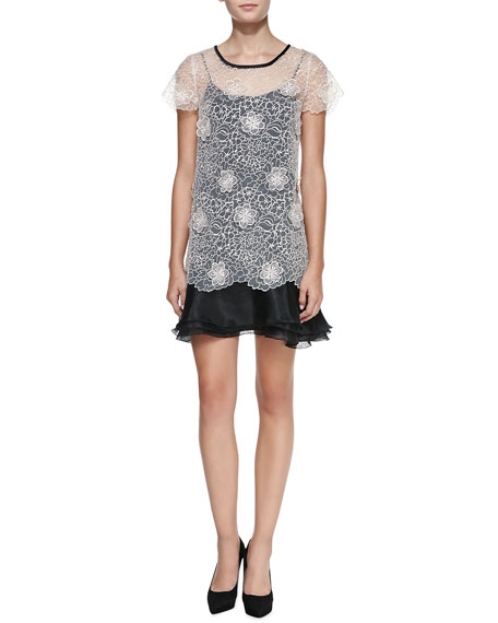 3-D Blossom Lace Popover Top Cocktail Dress