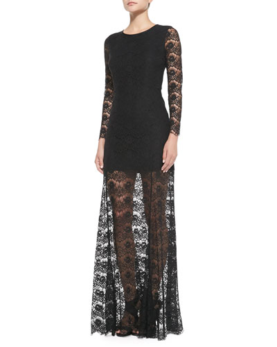 ERIN erin fetherston Long-Sleeve Lace Overlay Gown