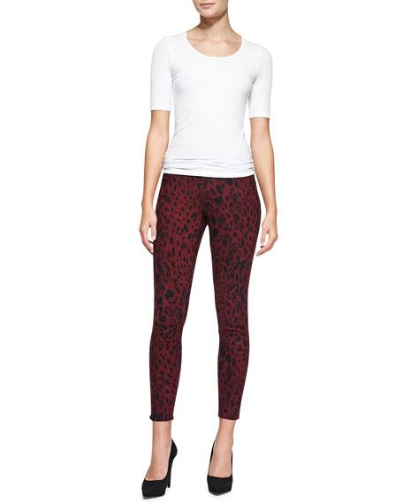 Wisdom Leopard-Print Skinny Ankle Jeans