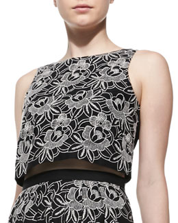 Tibi Cropped Embroidered Eyelet Top