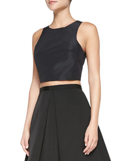 Tibi Katia Faille Cropped Top