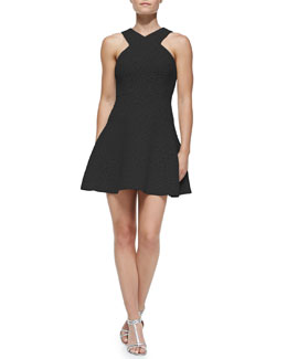 Tibi Rime Jacquard Flirty Fit-and-Flare Dress