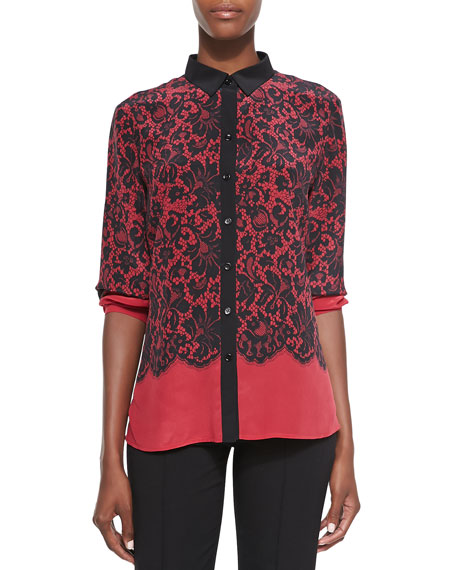 Lace-Print Silk Blouse, Red, Women's