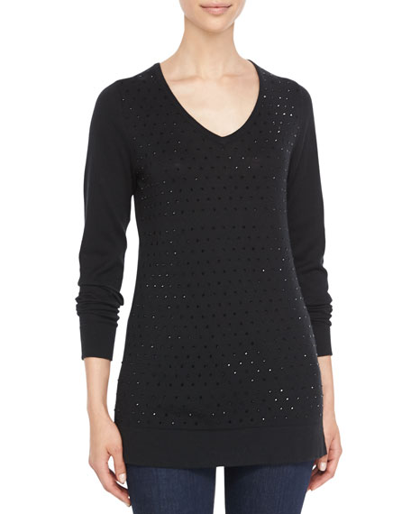 Neiman Marcus V-Neck Crystal-Front Sweater