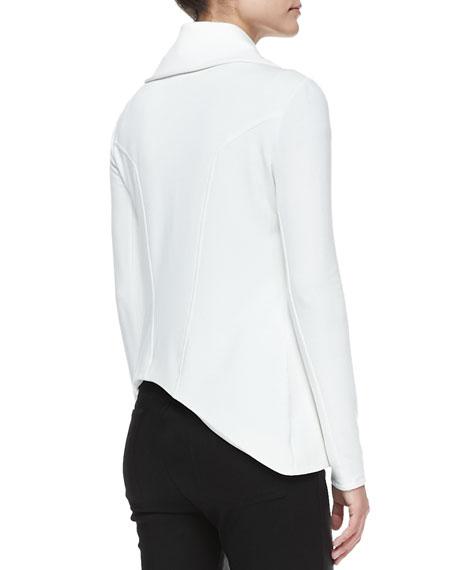 Villous Front-Zip Crepe Jacket