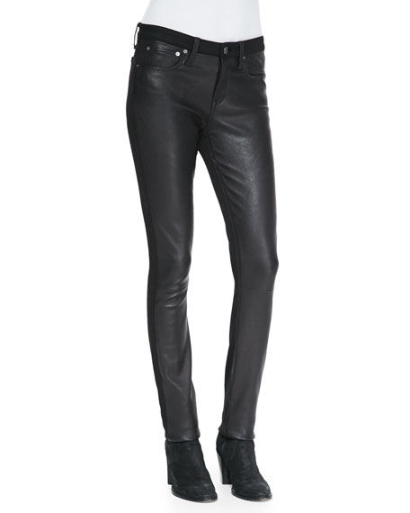 Leather-Front Ponte Skinny Pants