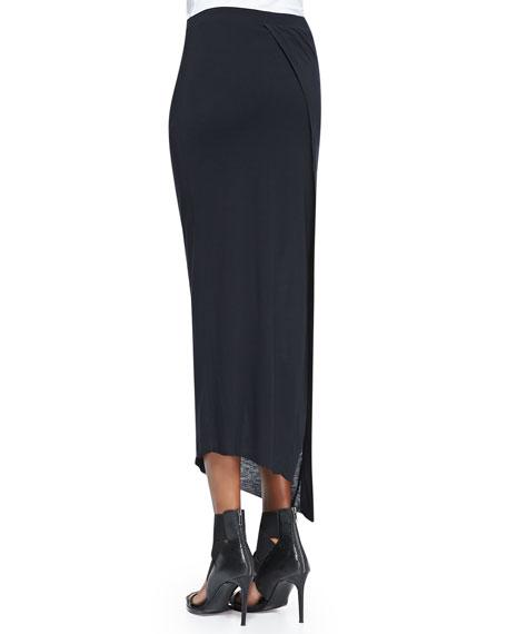 Kinetic Jersey Long Wrap Skirt, Black