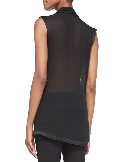 Pattern-Trim Draped Silk Blouse