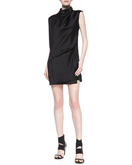 Helmut Lang Gravel Silk Drop-Waist Dress