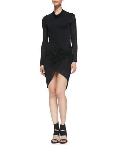 Helmut Lang Twisted Jersey Long-Sleeve Dress