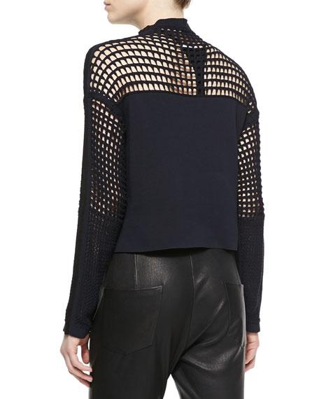 Grid-Pattern Cropped Sweater