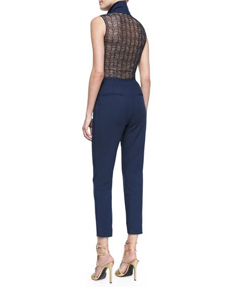 Sleeveless Lace & Cotton Jumpsuit, Navy