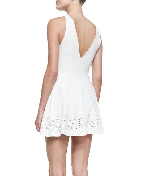 Laser-cut Leather Dress, Cream
