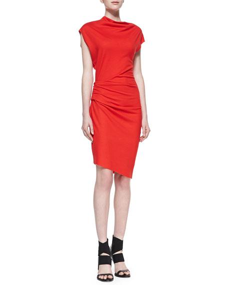 Sonar-Knit Asymmetric Gathered Dress