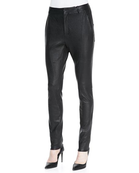 Seamed Slim Leather Moto Pants