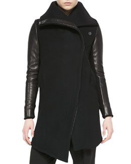 Helmut Lang Inclusion Leather-Sleeve Felt Jacket