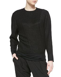 Helmut Lang Trance Mix-Pattern Knit Sweatshirt