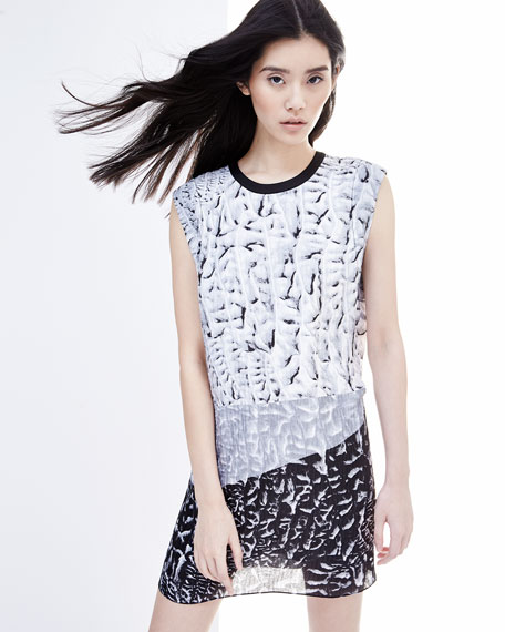Annex Printed Pleated Silk Dress