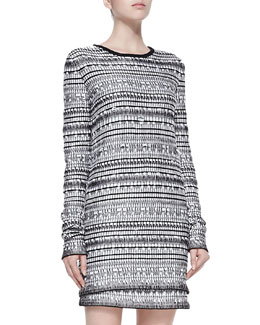 Helmut Lang Tweed Variant-Grid Long-Sleeve Top