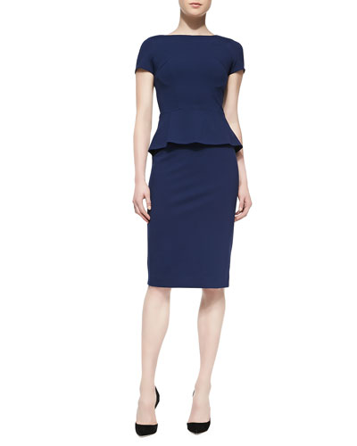 Lafayette 148 New York Short-Sleeve Peplum Dress